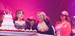 "© Licensed to London News Pictures. 12/05/2012. London, England. L-R: Actress Harriet Thorpe, Walk the Walk Ambassador and actress Jennifer Saunders. The MoonWalk London 2012, Celebrating 15 years of Moon Walking for the breast cancer charity ""Walk the Walk"". Photo credit: Bettina Strenske/LNP"