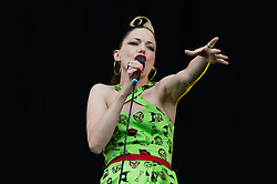 © Licensed to London News Pictures. 14/06/2015. Newport, UK.   Imelda May performing live at Isle of Wight Festival 2015, Day 4 Sunday.   Headline acts include The Prodigy, Blur and Fleetwood Mac.   Photo credit : Richard Isaac/LNP