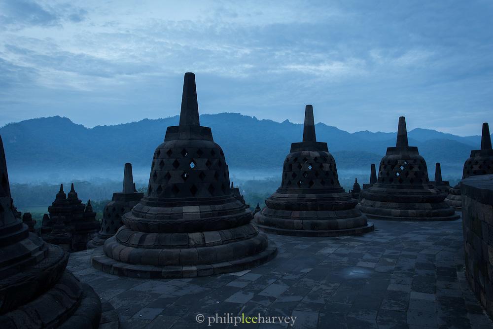 Stupa's, Borobudur, Kedu Valley, South Central Java, Java, Indonesia, Southeast Asia