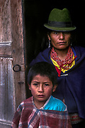 Portrait of mother and son, Zumbahua, Cotopaxi Province