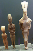 Schematic Cycladic, Greek figurines with trapezoidal body belonging to 'Apeiranthos' variety of Naxos. 2800-2300BC