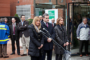 Emergency services attend a fire at the La Milagrosa clinic, where King Juan Carlos is recovering from surgery on his back