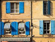 Windows on buildings in Arles, France