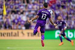 May 6, 2018 - Orlando, FL, U.S. - ORLANDO, FL - MAY 06: Orlando City defender Mohamed El-Munir (13) stops the ball during the soccer match between the Orlando City Lions and Real Salt Lake on May 6, 2018 at Orlando City Stadium in Orlando FL. Photo by Joe Petro/Icon Sportswire) (Credit Image: © Joe Petro/Icon SMI via ZUMA Press)