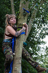 A HS2 Rebellion activist eats a pear thrown to her by a fellow activist after climbing a tree in Denham Country Park in order to try to protect it from works for the HS2 high-speed rail link on 8 September 2020 in Denham, United Kingdom. Anti-HS2 activists continue to try to prevent or delay works on the controversial £106bn project for which the construction phase was announced on 4th September from a series of protection camps based along the route of the line between London and Birmingham.