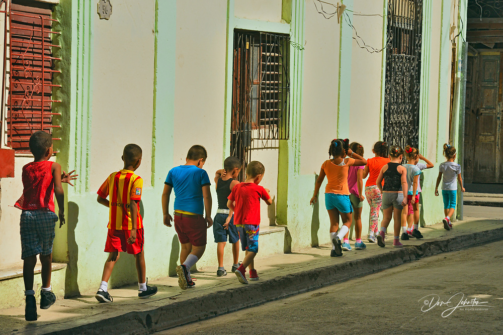 Street photography in Old Havana- First grade schoolchildren, La Habana (Havana), Habana, Cuba