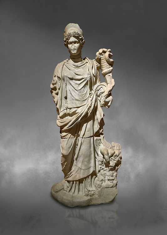 Roman statue of Hygieia. Marble. Perge. 2nd century AD. Inv no .Antalya Archaeology Museum; Turkey.  Against a grey background<br /> <br />  Hygieia was one of the Aeclepiadae; the sons and daughters of the god of medicine; Asclepius; and the goddess of healing; Epione. She was the goddess of health; cleanliness and hygiene. .<br /> <br /> If you prefer to buy from our ALAMY STOCK LIBRARY page at https://www.alamy.com/portfolio/paul-williams-funkystock/greco-roman-sculptures.html . Type -    Antalya     - into LOWER SEARCH WITHIN GALLERY box - Refine search by adding a subject, place, background colour, museum etc.<br /> <br /> Visit our ROMAN WORLD PHOTO COLLECTIONS for more photos to download or buy as wall art prints https://funkystock.photoshelter.com/gallery-collection/The-Romans-Art-Artefacts-Antiquities-Historic-Sites-Pictures-Images/C0000r2uLJJo9_s0