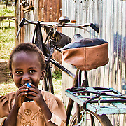 A small girl at Giwa Resettlement Farm, near Nakuru in Kenya's Rift Valley Province.