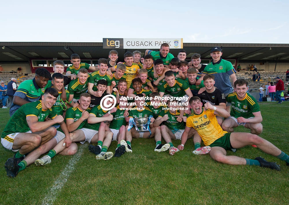30-06-21. Meath v Offaly - Leinster MFC Final 2020 at TEG Cusack Park, Mullingar.<br /> Meath players celebrating with the Larry Murphy, Leinster MFC Cup.<br /> Photo: John Quirke / www.quirke.ie<br /> ©John Quirke Photography, 16 Proudstown Road, Navan. Co. Meath. (info@quirke.ie / 046-9028461 / 087-2579454).