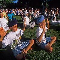 American Sikhs attend a morning prayer vigil at a temple near Santa Fe, New Mexico.