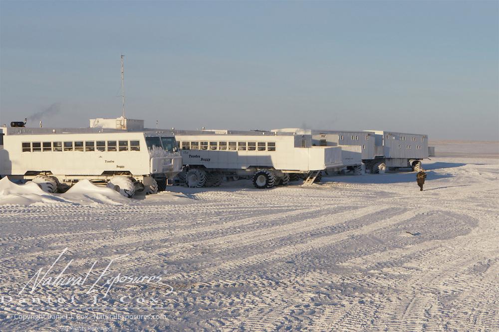 Simon Gee patrols the perimeter of Tundra Buggy Lodge during refueling operations at Cape Churchill, Hudson Bay, Manitoba.