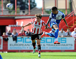 Daniel Leadbitter of Bristol Rovers gets a header away - Mandatory by-line: Neil Brookman/JMP - 25/07/2015 - SPORT - FOOTBALL - Cheltenham Town,England - Whaddon Road - Cheltenham Town v Bristol Rovers - Pre-Season Friendly