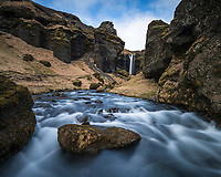 Kvernufoss waterfall (30m high) in Kvernugil gorge, South Iceland.