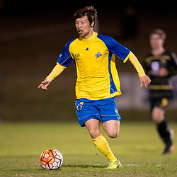 BRISBANE, AUSTRALIA - AUGUST 26: Hiroki Omori of the Strikers in action during the NPL Queensland Senior Men's Semi Final match between Brisbane Strikers and Moreton Bay Jets at Perry Park on August 26, 2017 in Brisbane, Australia. (Photo by Patrick Kearney)