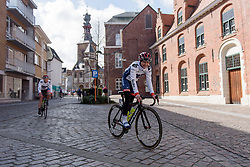 Stephanie Pohl makes her way from sign in at Dwars door Vlaanderen 2017. A 114 km road race on March 22nd 2017, from Tielt to Waregem, Belgium. (Photo by Sean Robinson/Velofocus)