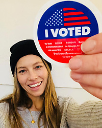 """Jessica Biel releases a photo on Instagram with the following caption: """"Today\u2019s the day. Make your voice heard and VOTE. Need a ride? Both @uber and @lyft are offering free rides to the polls! Check out their socials for details. #vote"""". Photo Credit: Instagram *** No USA Distribution *** For Editorial Use Only *** Not to be Published in Books or Photo Books ***  Please note: Fees charged by the agency are for the agency's services only, and do not, nor are they intended to, convey to the user any ownership of Copyright or License in the material. The agency does not claim any ownership including but not limited to Copyright or License in the attached material. By publishing this material you expressly agree to indemnify and to hold the agency and its directors, shareholders and employees harmless from any loss, claims, damages, demands, expenses (including legal fees), or any causes of action or allegation against the agency arising out of or connected in any way with publication of the material."""