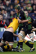 Northampton, Northamptonshire, 2nd October 2004 Northampton Saints vs London Wasps, Zurich Premiership Rugby, Franklyn Gardens, [Mandatory Credit: Peter Spurrier/Intersport Images],<br /> Selborne Boome breaking with the ball.