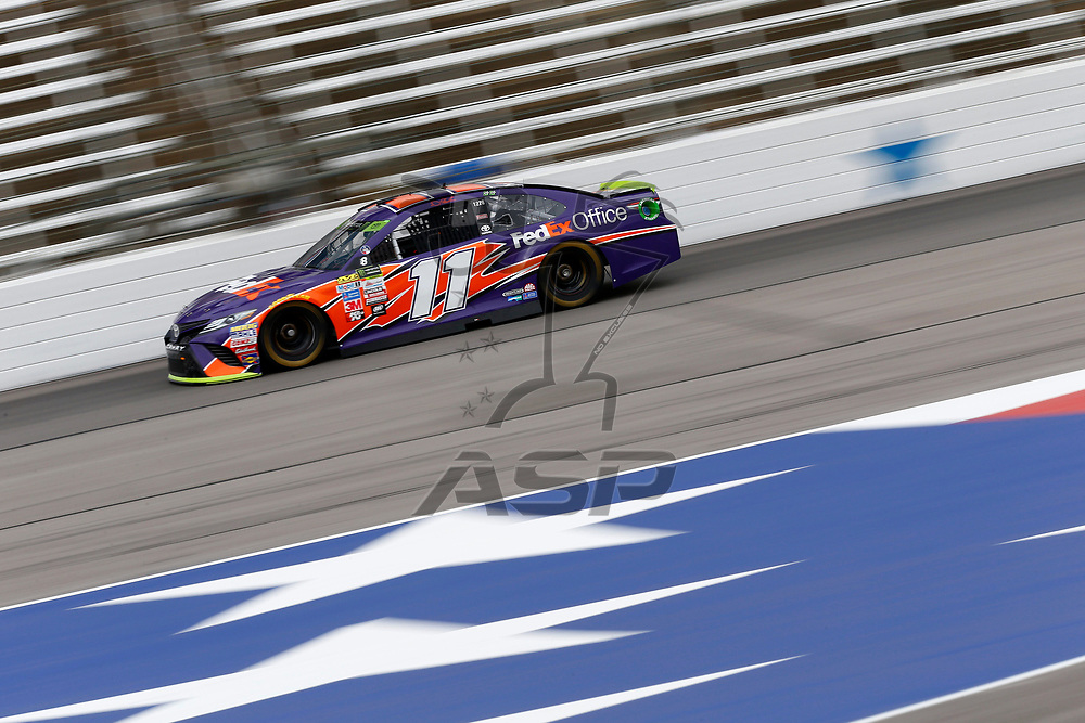 November 03, 2017 - Ft. Worth, Texas, USA: Denny Hamlin (11) takes to the track to practice for the AAA Texas 500 at Texas Motor Speedway in Ft. Worth, Texas.