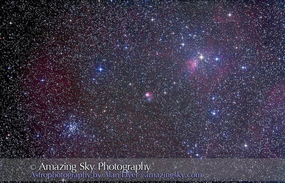 M36 open cluster in Auriga with nearby nebulosity NGC 1931 and IC 417. Taken Nov 6, 2010 with 105mm A&M apo refractor at f/5 with Borg .85x flattener/reducer and Canon 5DMkII at ISO 800 for stack of 5 x 10 minute exposures, Median combined. Used Celestron CGEM mount and Sky-Watcher SynGuider on William Optics 66mm guidescope. All seemed to work well.