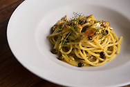"""""""Pastacon le sarde"""", spaghetti with sardines, typical local food, at the La Buatta restaurant"""
