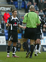 Photo: Aidan Ellis.<br /> Bolton Wanderers v Fulham. The Barclays Premiership. 11/02/2007.<br /> Fulham's Michael Brown protests his innocence after bringing down Nicolas Anelka for the penalty
