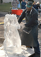 Carving a Horse's Head in Ice, Ice Sculpture Festival, Dayton Ohio