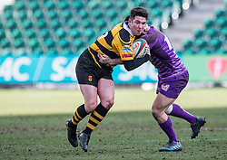Newport's Matt O'Brien is tackled by Ebbw Vale's Dominic Franchi - Mandatory by-line: Craig Thomas/Replay images - 04/02/2018 - RUGBY - Rodney Parade - Newport, Wales - Newport v Ebbw Vale - Principality Premiership