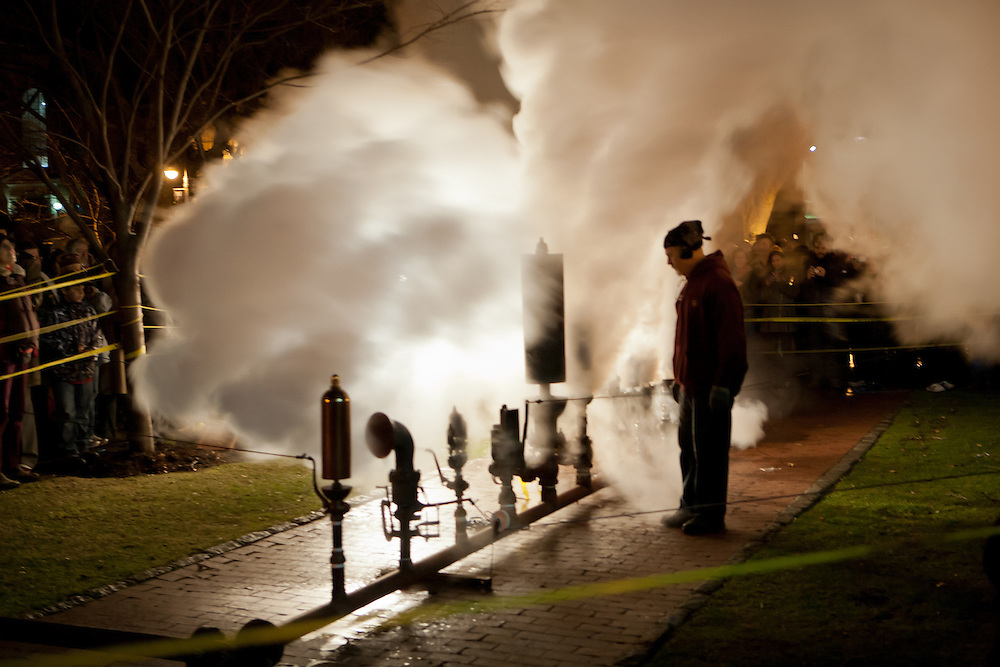The whistles release huge clouds of steam.