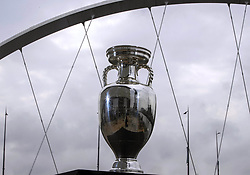 Handout photo provided by JSHPIX of the UEFA Euro 2020 Trophy at Clyde Arc in Glasgow. Picture date: Thursday June 3, 2021.