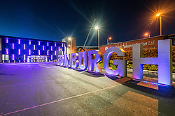 Large illuminated sign at Edinburgh airport in Scotland, United Kingdom