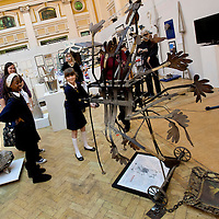 Picture shows: School pupils getting to grips with an exhit that critiques Art works...GEORGE WYLLIE RETROSPECTIVE: .IN PURSUIT OF THE QUESTION MARK..ARTIST'S LIFE LESS ORDINARY ON SHOW..THE life and work of George Wyllie, MBE, who died in May this year at the age of 90, is the subject of In Pursuit of the Question Mark, which is being curated by his elder daughter, Louise Wyllie...The exhibition is the most comprehensive survey of the internationally renowned Glasgow-born artist's work ever mounted and consists of almost 1000 objects. These range from his earliest drawings made for family when he was serving on HMS Argonaut in The Pacific during the Second World War, to his Cosmic Bunnet, made for his last ever solo exhibition in 2005...Wyllie described himself as a 'scul?tor' because, he said, the question mark should always be at the centre. His ambition as an artist, writer and philosopher was to bring art to the attention of the wider world with an engaging, and often humorous take on his chosen subjects...Some of the artist's earliest sculptural work has also been tracked down. This includes a Bumper Dolphin, made from old car bumpers, dating to the 1960s, and a peacock made from washers and scrap metal...The exhibition also features material which shows the process which led Wyllie to create iconic ephemeral works such as the Straw Locomotive and the Paper Boat...The Whysman Festival received funding from First in a Lifetime/Year of Creative Scotland 2012 to mount this exhibition and project-manage two community based projects; The Big Little Paper Boat Education Initiative which takes in over 90 Clydeside schools and the Big Clyde Question Project involving community groups in Inverclyde...GEORGE WYLLIE RETROSPECTIVE: IN PURSUIT OF THE QUESTION MARK.The Mitchell, North Street, Glasgow, G3 7DN.www.whysman.co.uk.3 November, 2012 - 2 February, 2013.Open Monday-Saturday, 10am-5pm