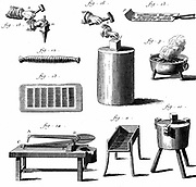 Needles: Equipment for needle making from shears to cut wire (14) to polishing roll (13). From Diderot 'Encyclopedie' Paris 1751-1780. Engraving