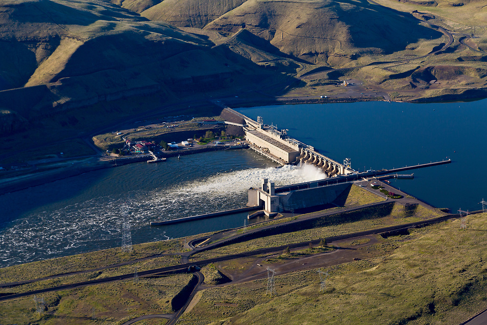 Aerial View of Lower Monument Dam on the Snake River in Washington State is one of 4 dams on the Snake River in Washington.  Licensing and Open Edition Prints.