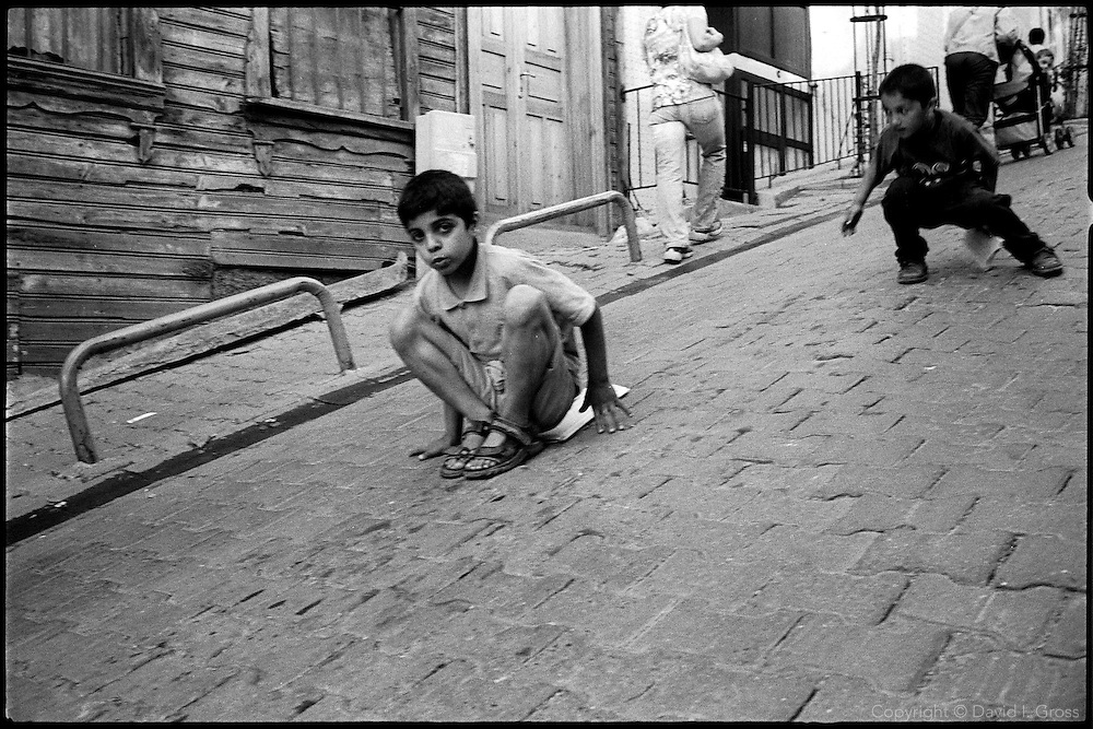 Children playing in the street in Istanbul, Turkey.