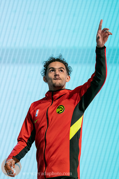February 15, 2020; Chicago, Illinois, USA; Atlanta Hawks guard Trae Young participates in the three-point contest during NBA All Star Saturday Night at United Center.