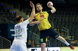 Albin Lagergren of Sweden during handball match between National Teams of Sweden and Slovenia at Day 3 of IHF Men's Tokyo Olympic  Qualification tournament, on March 14, 2021 in Max-Schmeling-Halle, Berlin, Germany. Photo by Vid Ponikvar / Sportida