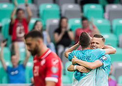 Josip Ilicic of Slovenia and Milivoje Novakovic of Slovenia celebrate after scoring second goal during football match between National teams of Slovenia and Malta in Round #6 of FIFA World Cup Russia 2018 qualifications in Group F, on June 10, 2017 in SRC Stozice, Ljubljana, Slovenia. Photo by Vid Ponikvar / Sportida