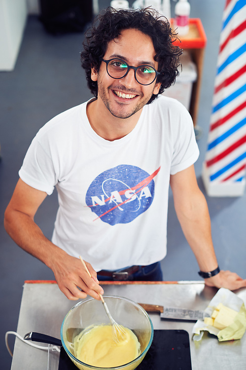 """Alexis Gabriel Ainouz, French youtuber (""""French Guy Cooking""""), posing in his studio. Vincennes, France. September 10, 2018.<br /> Alexis Gabriel Ainouz, youtubeur (""""French Guy Cooking""""), pose dans son studio. Vincennes, France. 10 septembre 2018."""