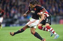 15-09-2015 NED: UEFA CL PSV - Manchester United, Eindhoven<br /> PSV kende een droomstart in de Champions League. De Eindhovenaren waren in eigen huis te sterk voor de miljoenenploeg Manchester United: 2-1 / Memphis Depay #7 slalomt door de verdediging en scoort de 1-0