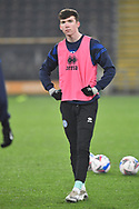 portrait of Conor Grant of Rochdale (17) warms up before the EFL Sky Bet League 1 match between Hull City and Rochdale at the KCOM Stadium, Kingston upon Hull, England on 2 March 2021.
