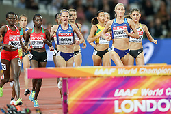 London, August 11 2017 . Courtney Frerichs, USA, and Emma Coburn, USA, chase down the leaders in the early stages of the women's 3000m steeplechase final on day eight of the IAAF London 2017 world Championships at the London Stadium. © Paul Davey.