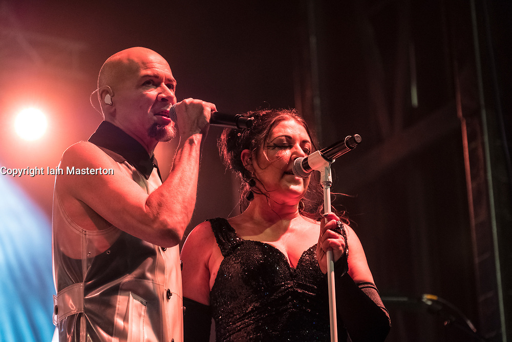 Edinburgh, Scotland, United Kingdom. 31 December 2017. Joanne Catherall and Phil Oakey of The  Human League perform during annual New Year of Hogmanay celebrations in the city.