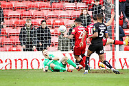 Walsall FC forward Josh Gordon (29) put this effort over the bar during the EFL Sky Bet League 1 match between Walsall and Barnsley at the Banks's Stadium, Walsall, England on 23 March 2019.
