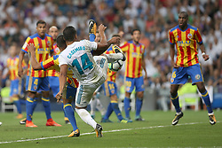August 27, 2017 - Madrid, Spain - Casemiro trying to kick the ball. LaLiga Santander matchday 2 between Real Madrid and Valencia. The final score was 2-2, Marco Asensio scored twice for Real Madrid. Carlos Soler and Kondogbia did it for Valencia. Santiago Bernabeu Stadium, august 27, 2017. Photo by  (Credit Image: © |Antonio Pozo |  Media Expre/VW Pics via ZUMA Wire)