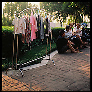 Clothes drying in a small park on Truc Bach Lake in Hanoi, Vietnam, Asia