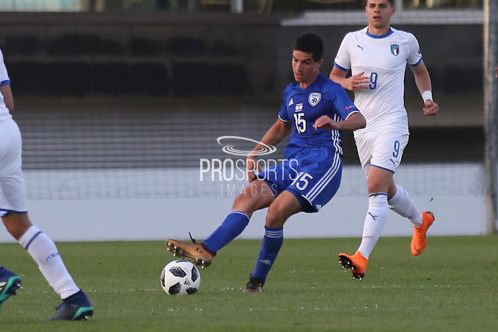 Nadav Aviv Niddam of Israel (15) threads a pass during the UEFA European Under 17 Championship 2018 match between Israel and Italy at St George's Park National Football Centre, Burton-Upon-Trent, United Kingdom on 10 May 2018. Picture by Mick Haynes.