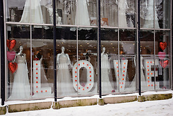 Even though shops are closed in lockdown 3, this wedding shop is still celebrating Valentine's Day, Norwich UK during Coronavirus. February 2021