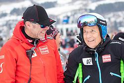 26.01.2020, Streif, Kitzbühel, AUT, FIS Weltcup Ski Alpin, Slalom, Herren, 2. Lauf, im Bild v.l. Patrick Riml (ÖSV Organisation und Struktur), Prof. Peter Schröcksnadel (ÖSV Präsident) // f.l. Patrick Riml Austrian Ski Association Organization and structure Peter Schroecksnadel Austrian Ski Association President reacts after his 2nd run in the men's Slalom of FIS Ski Alpine World Cup at the Streif in Kitzbühel, Austria on 2020/01/26. EXPA Pictures © 2020, PhotoCredit: EXPA/ Johann Groder