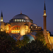 Facade of Hagia Sophia Byzantine Church converted to mosque, Istanbul, Turkey