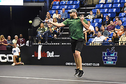 October 4, 2018 - St. Louis, Missouri, U.S - ANDY RODDICK with the forehand smash during the Invest Series True Champions Classic on Thursday, October 4, 2018, held at The Chaifetz Arena in St. Louis, MO (Photo credit Richard Ulreich / ZUMA Press) (Credit Image: © Richard Ulreich/ZUMA Wire)